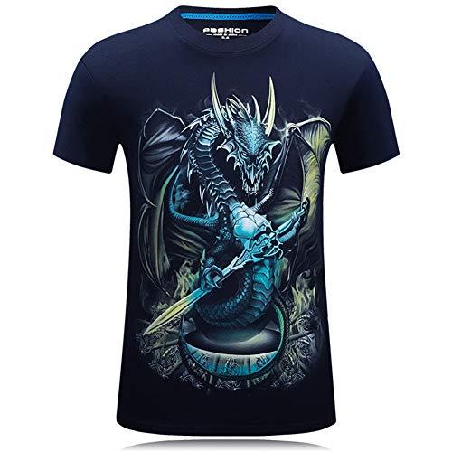 Yajun Herren T-Shirts 3D Gedruckte Hemd Kurzarm Tops Tees Sommer Freizeithemd Gedruckt Kurzen äRmel Drachen Grafik Teenager Baumwolle Soft Shirts Einfach und Elegant,Navy-Blue,5XL - Drachen-grafik-t-shirts