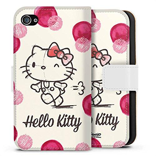 Apple iPhone X Silikon Hülle Case Schutzhülle Hello Kitty Fanartikel Merchandise Pünktchen Sideflip Tasche weiß