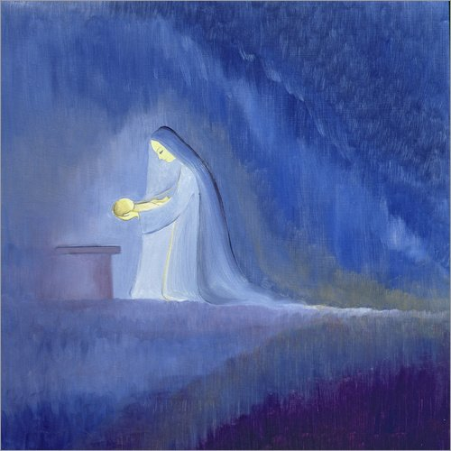 Poster 60 x 60 cm: Die Jungfrau Maria kümmert Sich um Ihr Kind 1997 von Elizabeth Wang/Bridgeman Images - hochwertiger Kunstdruck, neues Kunstposter -