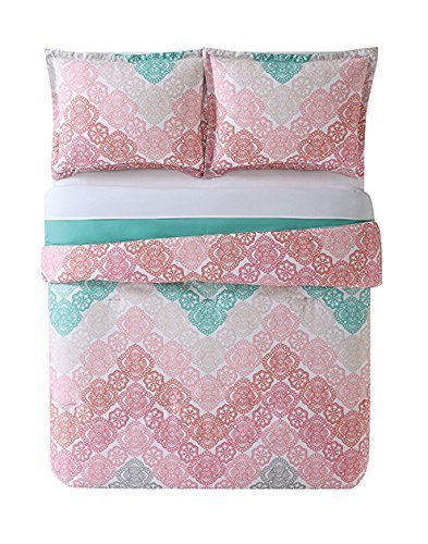 Laura Hart Kids Tröster Set (Happy Eulen, Antique Chevron Pink/Turquoise, Twin XL