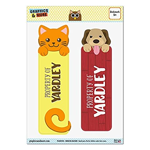 Set of 2 Glossy Laminated Cat and Dog Bookmarks - Names Male Ya-Yv - Yardley