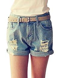 Minetom Damen Mädchen Sommer Sexy Shorts Beiläufige Lochjeans Mini Hotpants  Basic Ausgefranste Lose Dünn Denim Jeans dfa4847322