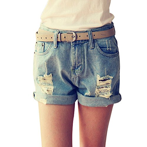 Minetom Ladies Fashion Shorts Jeans Cotton Slim Stretch Summer schlanke gerade Shorts Mittlere Taille Vintage Hot Pants Blau EU M (Denim Leder-shorts)