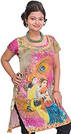 Exotic India Pink and Green Digital Printed Kurti with Radha Krishna - PinkGarment Size XX-Large