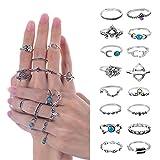 Meersee Midi Ring Set, 16pcs Alloy Vintage Crystal Above Knuckle Nail Midi Rings Silver Boho Ring Set