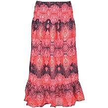 Jupes longues en dentelle à taille haute pour femmes élégantes ... Jupe -Fleur-ie-Femme-Fille-été-évasée-Ethnique- 953cfd7cc44e