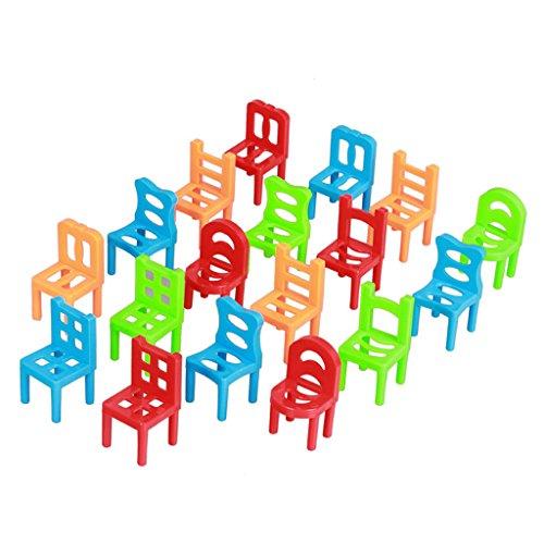 Homyl 18-teilig Kunststoff Stuhl auf Stuhl Stapel Gleichgewicht Stapelstühle Kinder Spielzeug