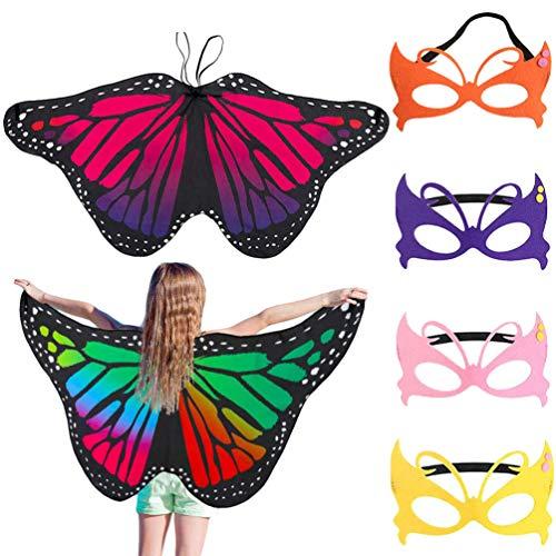 FunMove Kinder Schmetterling Flügel Fee Schmetterling Umhang Flügel Kostüm Schmetterling Schal und Maske Pixie Poncho Kostüm für Jungen Mädchen Kleid Up Prinzessin Verkleidung Play Party Set 2 Stück