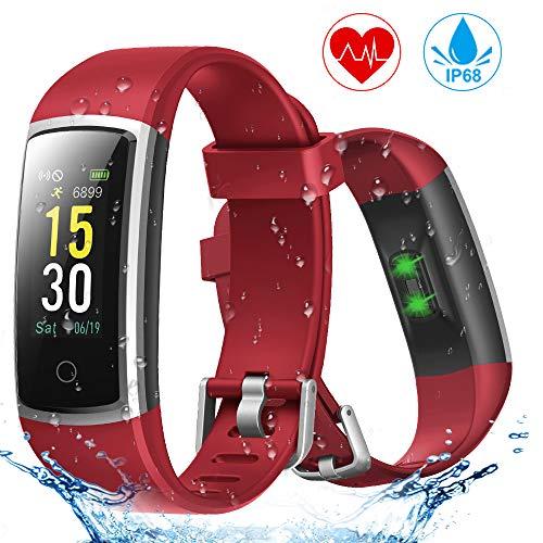 Fitness Armband, YONMIG Wasserdicht IP68 Fitness Tracker mit Pulsmesser Blutdruckmessung, 0,96 Zoll Farbbildschirm Aktivitätstracker Smartwatch, Schrittzähler Smart Watch Uhr Herren Damen Kinder (Rot)