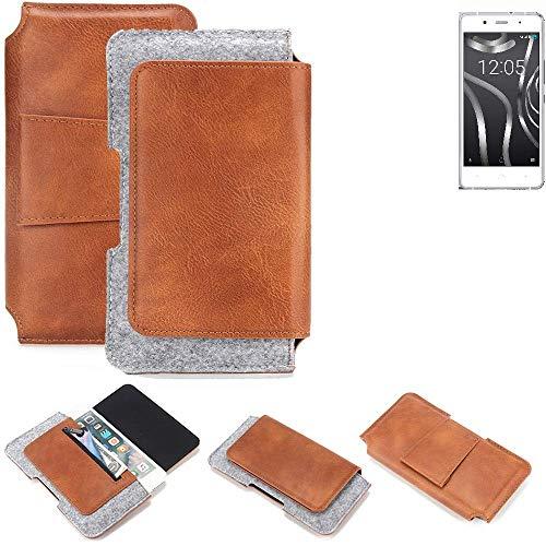 K-S-Trade® Für BQ Readers Aquaris X5 Plus Gürteltasche Schutz Hülle Gürtel Tasche Schutzhülle Handy Smartphone Tasche Handyhülle PU + Filz, Braun (1x)