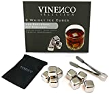 Whisky Steine Ice Cubes Set von VINENCO – 8 Wiederverwendbare Edelstahl Eiswürfel + Stoffbeutel | 8er Set Whiskey Rocks Stones