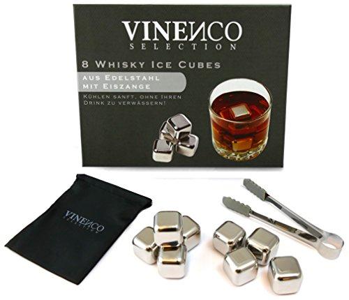 Whisky Steine Ice Cubes 8er Set + Stoffbeutel von VINENCO | 8 Wiederverwendbare Edelstahl Kühlsteine | Whiskey Rocks Eissteine Cooling Stones | Eiswürfel Ersatz für Cocktails, Drinks - Kein Verwässern