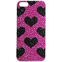Lux accessori iPhone 5/5s, colore: nero, motivo a cuori rosa, Custodia per telefono cellulare con strass