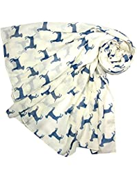 White and Blue Labrador Dog Scarf Ladies Fashion Scarves