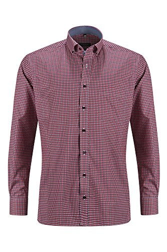 Eterna Long Sleeve Shirt Modern Fit Textured Weave Checked Rosso/Blu