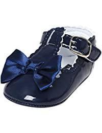 Jamicy Baby Girls Princess Bowknot Design Leather Soft Sole Casual Shoes (6~12 Month, Navy)