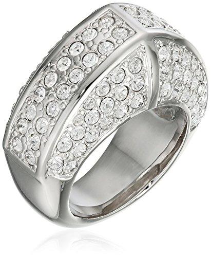 Jean Pierre Damen-Ring Messing rhodiniert Glas Weiß Rundschliff Gr. 63 (20.1) - HEJR982-20 RH