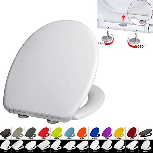 Preisvergleich Produktbild WC Deckel mit Absenkautomatik #22, Duroplast, Fast Fix/Schnellbefestigung, Softclose, Antibakterielle Beschichtung, Weiß, WS2596