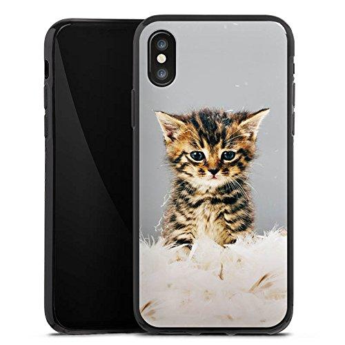 Apple iPhone X Silikon Hülle Case Schutzhülle Baby Katze Kitty Cat Silikon Case schwarz