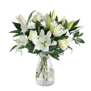 Arena Flowers Oriental Lily and Rose, White, 25 x 25 x 58 cm