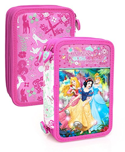 Disney Prinzessin 10624 Federtasche, Federmäppchen, 3-stöckig gefüllt 44 Teilen, Cinderella, Aurora, (Prinzessin Disney Aurora)