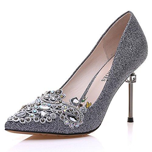 Ladies High Heels,Scarpe A Punta di Spillo,Diamante con I Pattini Luminosi del Fronte B