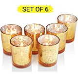 [Sponsored]TIED RIBBONS Set Of 6 Golden Mercury Votive Tealight Candle Holders For Diwali Light Decoration And Corporate Diwali Gifts(Glass, 7.5 Cm X 6 Cm)
