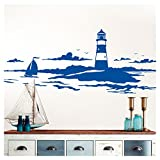 Wandaro W3450 Skyline Küstenlandschaft Leuchtturm I (BxH) 90 x 30 cm Azurblau I Bad Wohnzimmer Schlafzimmer Aufkleber Wandaufkleber Wandsticker