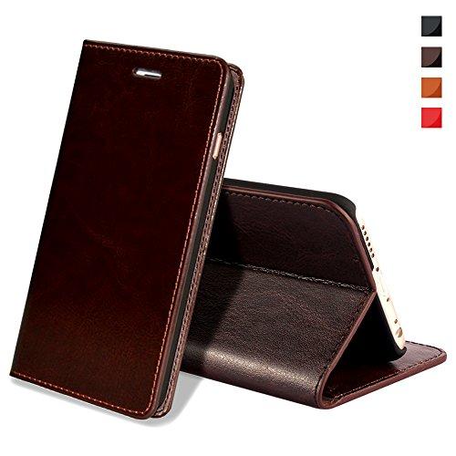 iPhone X Handyhülle,iPhone X Hülle,EATCYE [Echt Leder] Handyhülle [Extra Dünn] Brieftasche flip Lederhülle Schutzhülle [Versteckt MAGNET] Echt Leder Brieftasche Hülle für Apple iPhone X (Dunkelbraun)