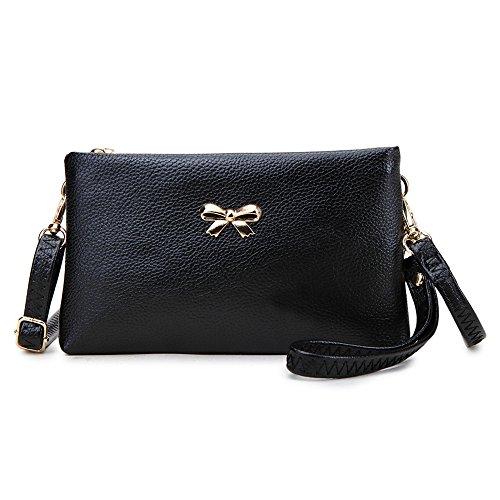 Damen Handgelenkstasche Unterarmtasche Abendtasche stillvolle Umhängetasche mit (Mit Schleife Handtasche)