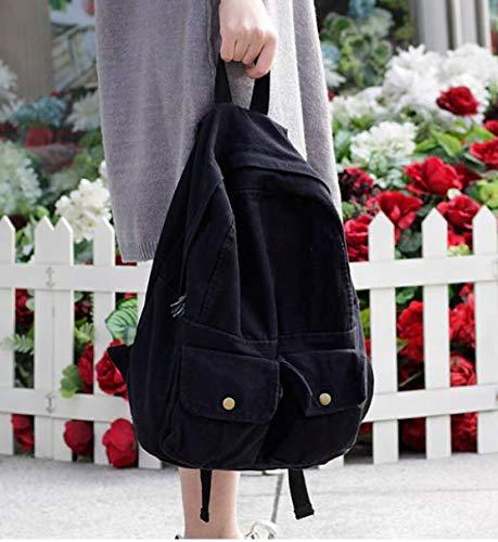Fsweeth Frische kleine Double Shoulder Bag Female einfache Kunst Harajuku Wind 2-Pocket Jeans travel College Studenten, 31 * 36 * 12 cm, schwarz kleine Taschen. -