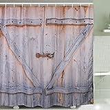 Cortina Ducha Puerta de Madera Estilo,Resistente al Moho y Impermeables, retro ducha cortinas Juego para cuarto de baño con ganchos de plástico baño accesorios 72 x 78in, 100% poliéster, 180 x 200 cm