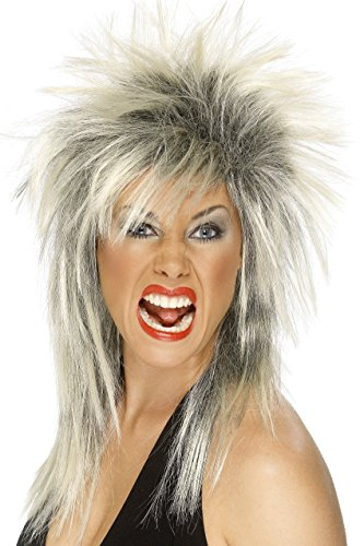 Smiffys Damen 80er Jahre Lange Vokuhila Perücke, Rock Diva Perücke, Blond und Schwarz, One Size, (Ideen Kostüm Damen 80er Jahre)
