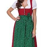 Almbock Dirndl Lang Lea rot mit grüner Schürze in Gr. 36 38 40 42 44 46 - festliches Trachten-Kleid, Rock-Länge 95cm Test