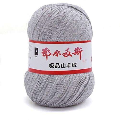 Generisches 10 x Luxurioes Cashmere Reiner Mongolischer Kaschmir Strickgarn Wolle 50g Hellgrau (Cashmere Wolle 10%)