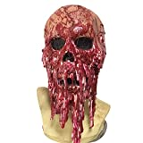LAEMILIA Halloween Bloody Melted Face Mask Horror Zombie Mummy Latex Mask for Adults Costume Party Cosplay (one size, Red)