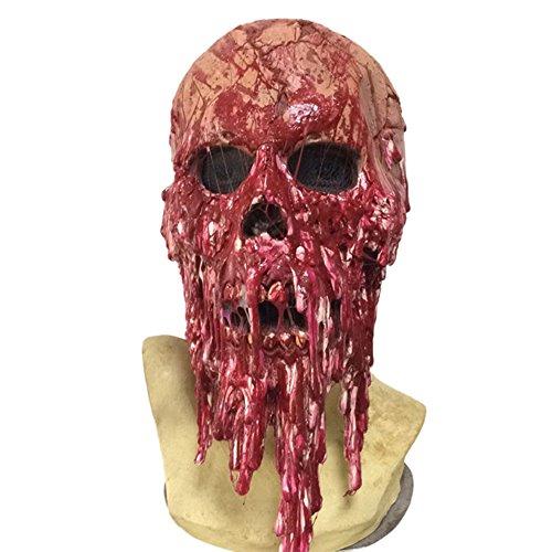 Preisvergleich Produktbild Brave Pioneer Halloween Maske Horror Zombie Monster Dämon Totenkopf Schädel Kopfmaske Untoter aus sehr hochwertigen Latex Material für Erwachsene Herren Damen Kostüm Karneval Verkleidung Fasching (rot)