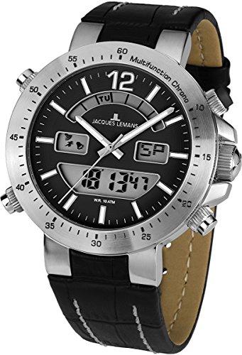 Jacques Lemans - 1-1713A - Montre Mixte - Quartz Analogique et digitale - Alarme/Chronomètre - Bracelet Cuir Noir