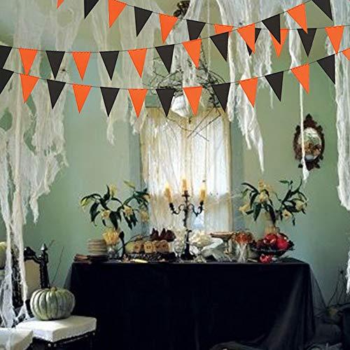 3M schwarz orange Halloween Banner Bunting Flags, Papiergirlande hängen Ornamente Party Supplies für Home Office School Shops