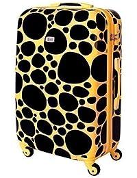XL Maleta De Cáscara Dura Viaje candado TSA 65 Litros Piedrecitas Negro Amarillo 813