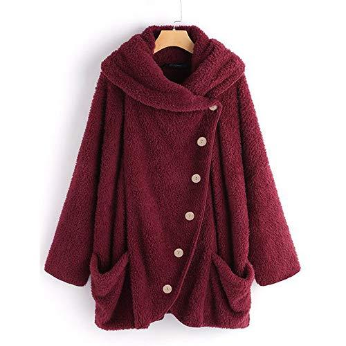 iHENGH Damen Herbst Winter Bequem Mantel Lässig Mode Jacke Frauen Casual Solide Rollkragenpullover Große Taschen Mantel Mäntel Vintage Oversize Mäntel