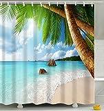 ANSODT Strand-Kokosnuss 3D Starker Wasserdichter Anti-Mehltau der Duschvorhang 220X200Cm