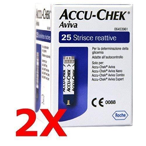 2x accu chek aviva da 25 - 50 strisce reattive per test glicemia - accu check