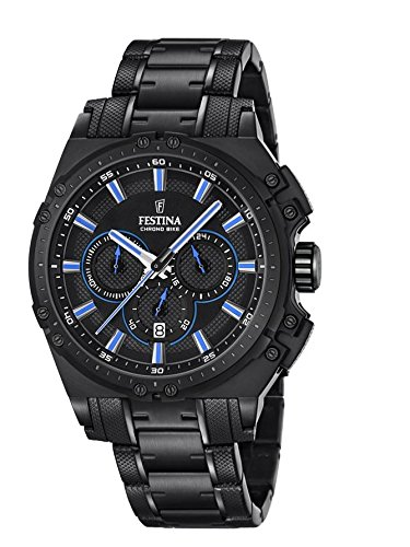 Festina CHRONO BIKE 2016 Men's Quartz Watch with Black Dial Chronograph Display and Black Stainless Steel Plated Bracelet F16969/2