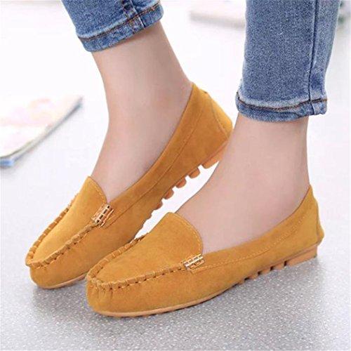 Femmes Slip On Comfort Flat Loafer Chaussures Jaune