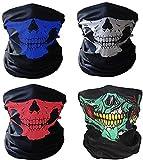4x Premium Multifunktionstuch | Sturmmaske | Bandana | Schlauchtuch | Halstuch mit Totenkopf- Skelettmasken für Motorrad Fahrrad Ski Paintball Gamer Karneval Kostüm Skull Maske …