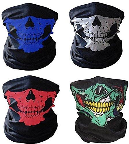4x Premium Multifunktionstuch   Sturmmaske   Bandana   Schlauchtuch   Halstuch mit Totenkopf- Skelettmasken für Motorrad Fahrrad Ski Paintball Gamer Karneval Kostüm Skull Maske …