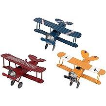 fourHeart Vintage Aviones de metal modelo, hierro retro Aviones Glider biplane colgante modelo, avión Photo Props/Decoración, Colección -- 3 Pcs, 10x9x5cm(LxBxH)