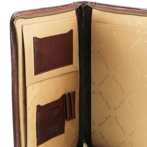 Tuscany Leather Luigi XIV - Porte-document en cuir avec fermeture glissière Marron foncé Porte-document en cuir Miel