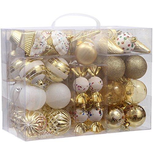 Set von 81 verschiedenen bruchsicheren Weihnachtskugeln mit wiederverwendbarem Geschenk-Paket für Ihren Weihnachtsbaum - von Sea Team  Art Deco gold